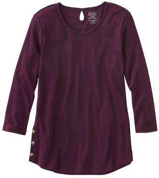 L.L. Bean L.L.Bean Women's Pima Cotton Tee, Three-Quarter-Sleeve Side-Button Tunic