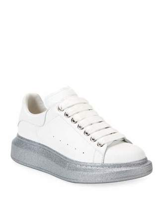 Alexander McQueen Leather Sneakers with Glitter Sole