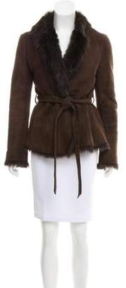 Barneys New York Barney's New York Belted Shearling Jacket