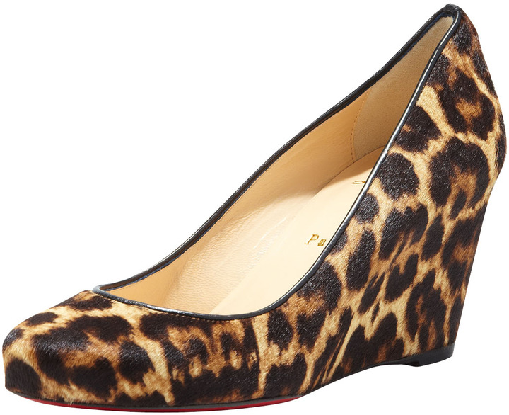Christian Louboutin Melisa Leopard-Print Wedge Red Sole Pump