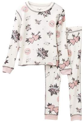 PJ Salvage Tattoo Print Pajamas (Toddler, Little Girls, & Big Girls)