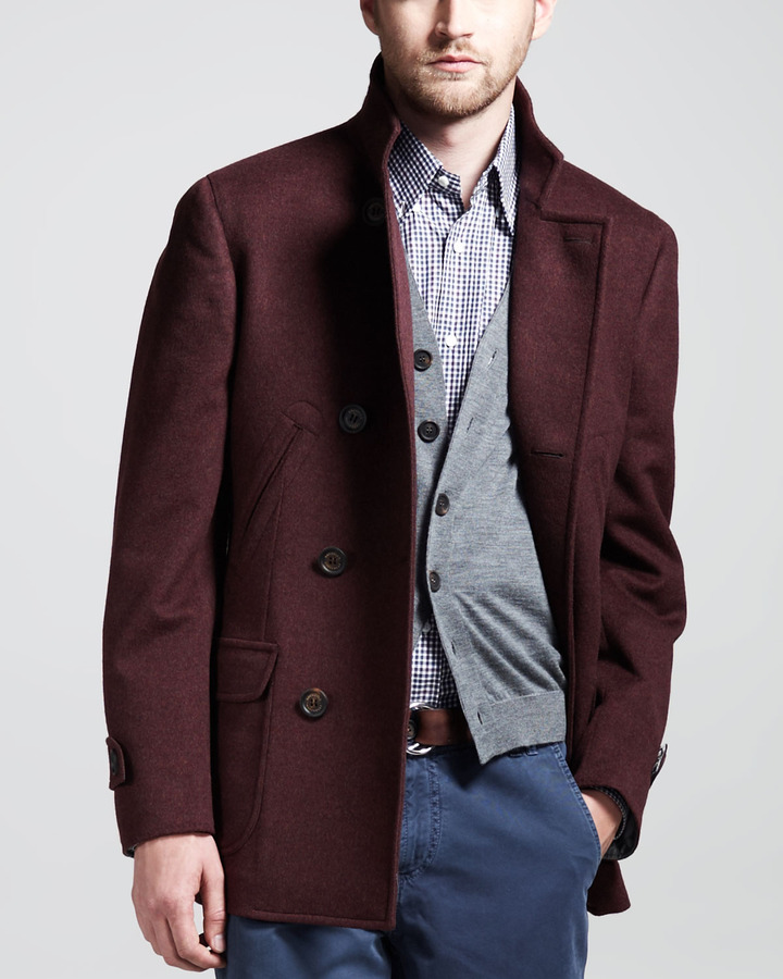 Brunello Cucinelli Double-Breasted Wool-Cashmere Peacoat