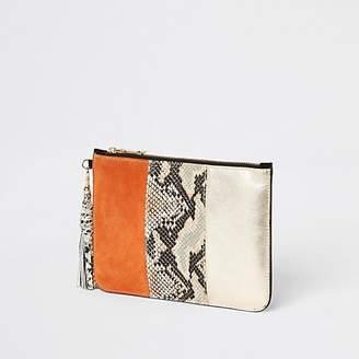 River Island Orange snake print leather pouch clutch bag