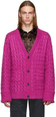 Matthew Adams Dolan Pink Mohair Oversized Cardigan