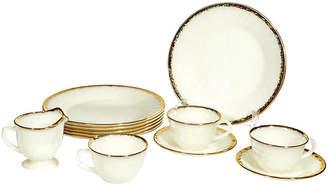 One Kings Lane Vintage 1960s Gilt-Rim Glass Dinnerware - Set of 12 - 2-b-Modern