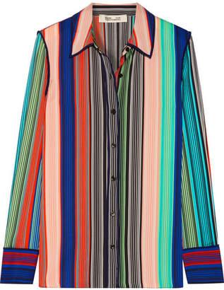 Diane von Furstenberg - Striped Silk-blend Shirt - Light blue $350 thestylecure.com