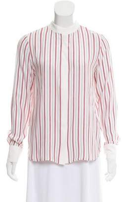 Frame Striped Silk Long Sleeve Top