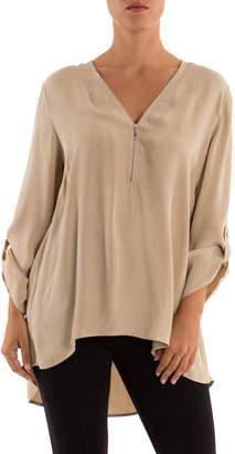 3/4 Sleeve Zip Front Top