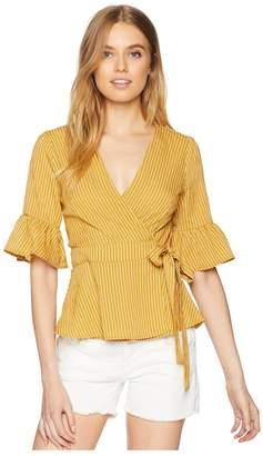 J.o.a. Ruffle Sleeve Wrap Top Women's Clothing