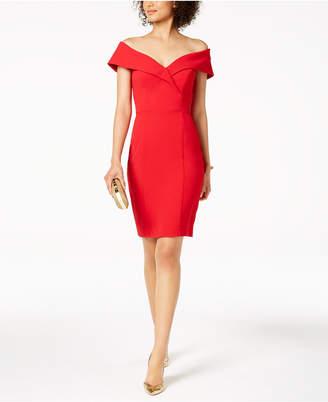 Xscape Evenings Petite Off-The-Shoulder Sweetheart-Neck Dress