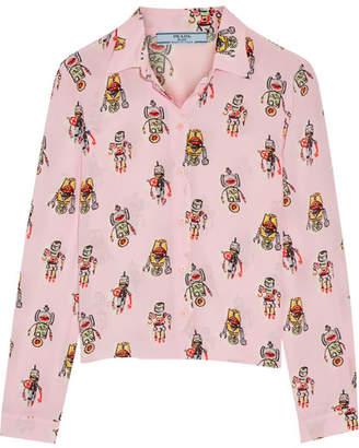 Prada - Printed Silk Crepe De Chine Shirt - Pastel pink