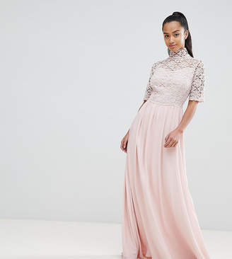 4e865548ab730 John Zack Petite High Neck Cutwork Lace Top Maxi Dress