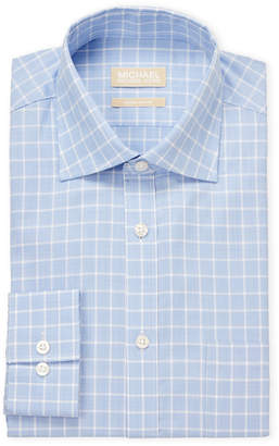 MICHAEL Michael Kors Light Blue Plaid Regular Fit Dress Shirt