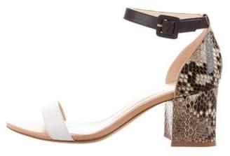Alexandre Birman Snakeskin Ankle-Strap Sandals