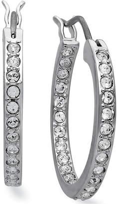 Swarovski Earrings, Rhodium-Plated Crystal Hoop Earrings