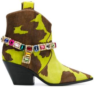 Casadei stone embellished ankle boots