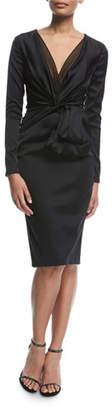Talbot Runhof Polis Long-Sleeve Satin Cocktail Dress