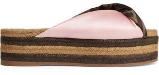 Fendi Logo-print Satin Espadrille Platform Sandals - Baby pink