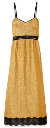 Gucci Lace-trimmed Lamé Maxi Dress - Gold