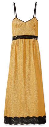 Gucci Lace-trimmed Lamé Maxi Dress - Gold