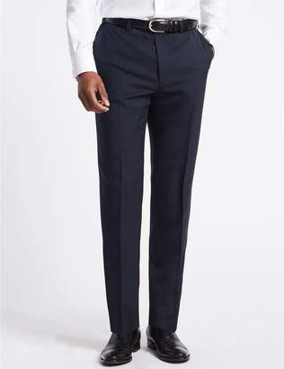 Marks and Spencer Navy Striped Regular Fit Trousers