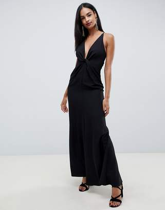 Asos DESIGN maxi dress with knot front and open back in crepe