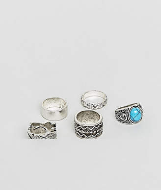 Asos Design DESIGN Chunky Ring Pack In Burnished Silver With Feather And Turquoise Stone