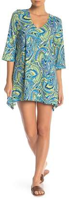 J Valdi Paisley Print V-Neck Shift Dress Cover-Up