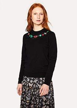 Paul Smith Women's Black Cashmere Sweater With Jewel Detail