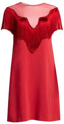 Alberta Ferretti Short Sleeve Fringe Shift Dress