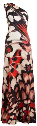 Alexander McQueen Butterfly Print One Shoulder Silk Satin Gown - Womens - Red Multi