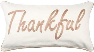"""Rizzy Home Brown """"Thankful"""" Contemporary Oblong Throw Pillow"""