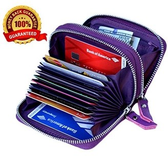 Kalmore Women's Genuine Leather RFID Secure Spacious Cute Double-Zipper Card Wallet Small Purse with ID Window Clothing