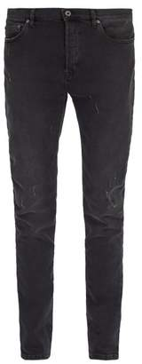 Valentino Distressed Stretch Denim Jeans - Mens - Dark Grey