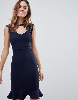 Lipsy Lace Detail Midi Dress with Pephem