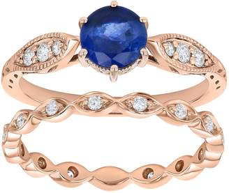 14k Rose Gold Sapphire & 1/3 Carat T.W. Diamond Engagement Ring Set