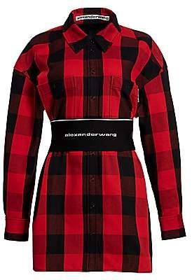 Alexander Wang Women's Logo Elastic Belt Plaid Shirtdress
