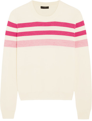 J.Crew - Striped Merino Wool Sweater - Pink $100 thestylecure.com