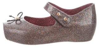 Mini Melissa Girls' Glitter Square-Toe Flats