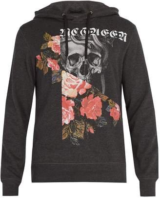Alexander McQueen Patchwork skull printed cotton hooded sweatshirt
