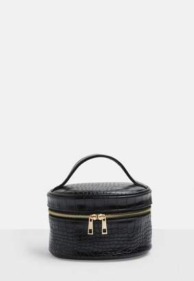 Missguided Black Circle Croc Makeup Bag