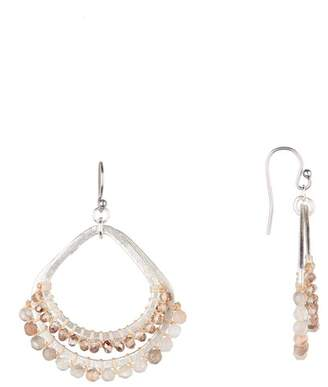 Chan Luu Semi Precious Stone Double Hoop Dangle Earrings
