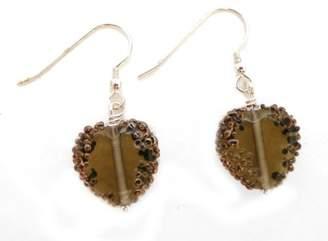Glass Heart Martick Smokey Grey Bohemian French Wire Earrings