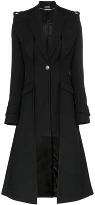 Alexander McQueen single-breasted asymmetric hem coat