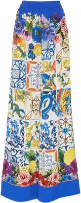 Maiolica Print Stretch-Silk Wide-Leg Pants Dolce & Gabbana l9IdI