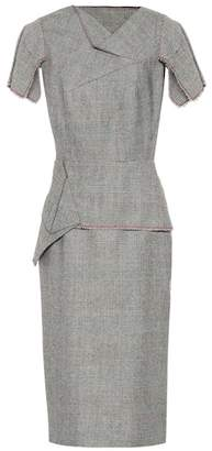 Roland Mouret Checked wool midi dress