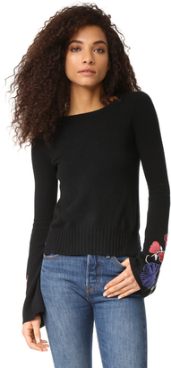Autumn Cashmere Sweater with Embroidered Bell Sleeves $334 thestylecure.com