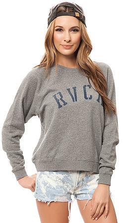 RVCA The Department Sweatshirt in Grey Noise