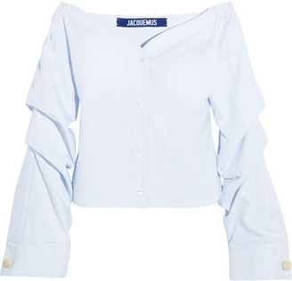 Jacquemus - Off-the-shoulder Striped Cotton-poplin Top - White $385 thestylecure.com