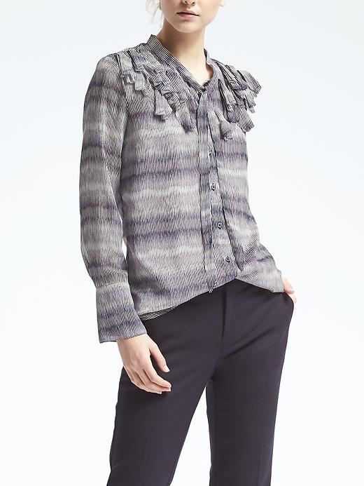 Banana Republic Easy Care Embroidered Flutter Blouse